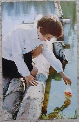1972 SOVIET POSTCARD BOY with toy ship INFREQUENT ch 250b