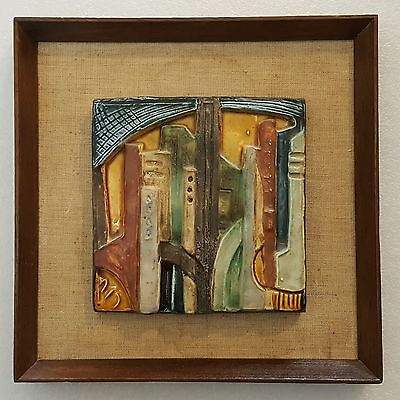 Ruth Factor Hand Made Glazed Ceramic Tile. City View. Signed.