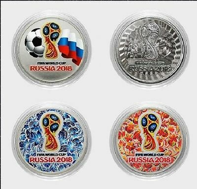 Russia 2016 World Cup 2018 25 Rbl Rubels set of 4 coins, 3 colored +1 engraved