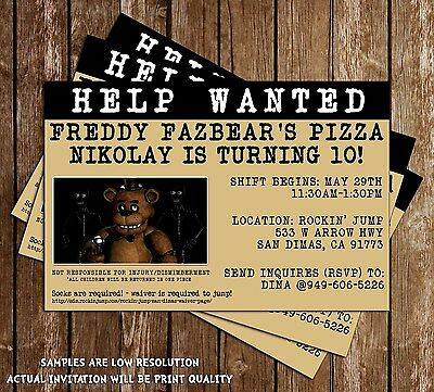 Five Nights at Freddy's Party Birthday Invitation - 15 Printed W/envelopes