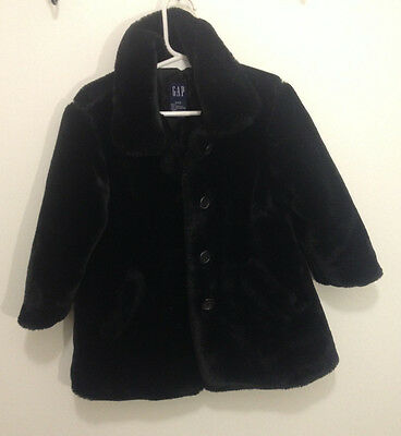 GAP kids Girls Black Faux Fur Winter Dressy Coat - Size XXS