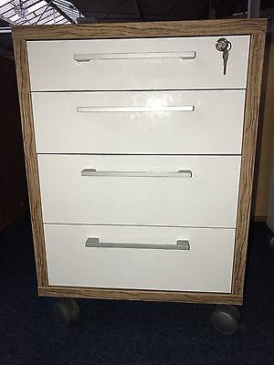Prima Office Lockable 4 Drawer Filing Cabinet Pedestal Walnut & High Gloss White
