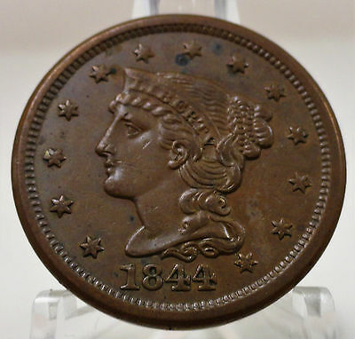 1844 Liberty braided hair large cent, normal date, bold, #53422-140