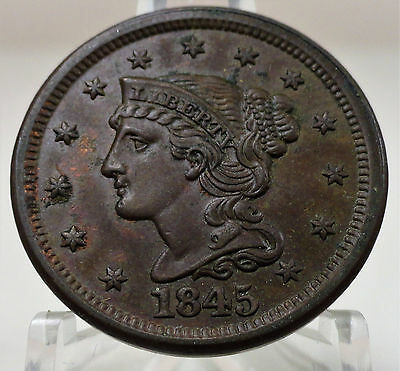 1845 Liberty braided hair large cent, bold detail, #53422-143