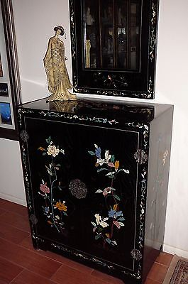 Chinese Black Lacquer Coromandel Cabinet With Matching Mirror
