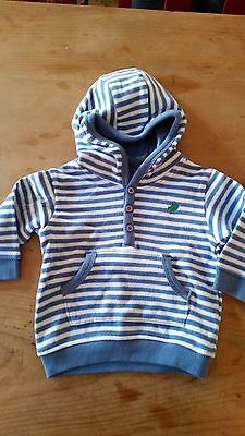 M&s Baby Boys Blue White Stripe Hoody Top Size 3-6 Months Worn Once Ex Cond