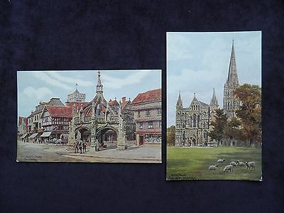 2 Vintage ARQ Postcards of Salisbury The Poultry Cross, Cathedral, A. R. Quinton