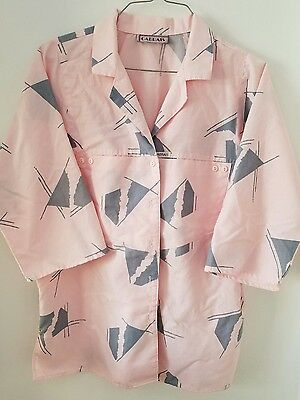vintage 80s 1980s womens size large pink gray button up blouse