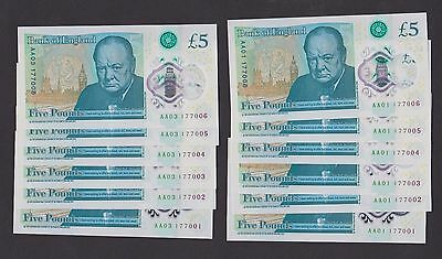 12X £5 Five Pound -6 x notes no.AA01+ 6 x  notes AA03 with same number!-UNC-RRR