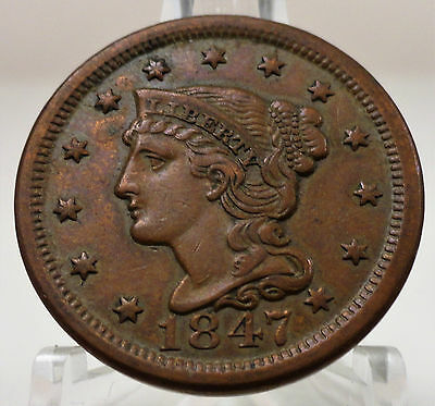 1847 Liberty braided hair large cent, bold detail, #53422-146