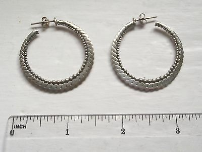 Bali Collection Large Ornate Hoop 925 Silver Butterfly Earrings