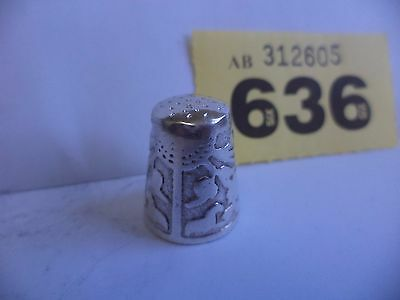 Vintage Continental / European .900 Silver Thimble with Sun & Clouds Decoration