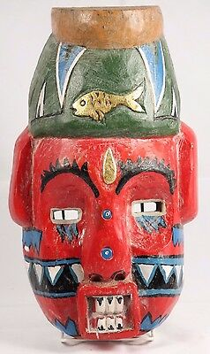Authentic Asian / Indonesian Hanging Wooden Mask Handmade Collectible Folk Art