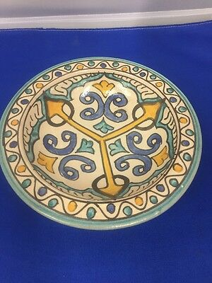 """Vintage Moroccan Handmade Ceramic Pottery FES """" Footed Bowl"""