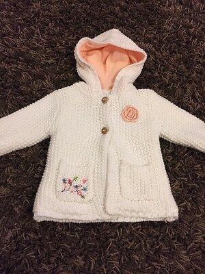 Bnwot Girls 3-6-9-12m Knitted Jacket Hooded Cardigan Top White