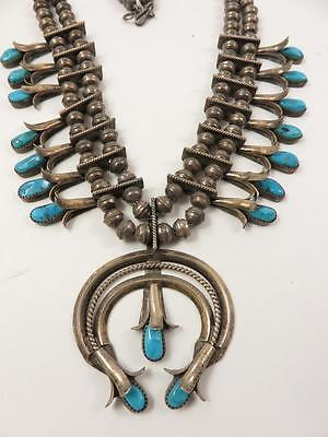 Vintage Navajo Kingman Turquoise Sterling Squash Blossom Bench Bead Necklace