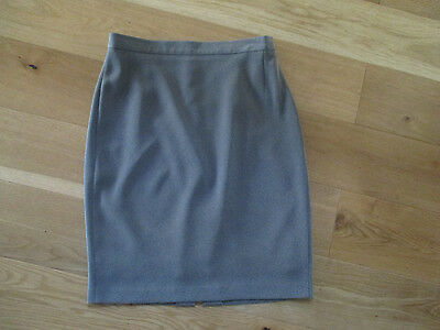 Ladies M&S blue mix knee length lined smart straight skirt size 12 VGC