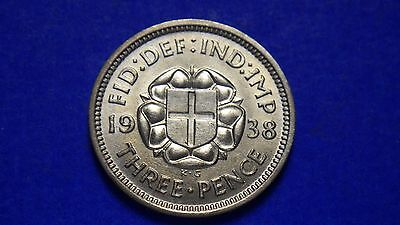 Outstanding uncirculated King George VI 1938 threepence - jwhitt60 coins