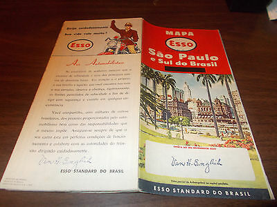 1956 Esso Sao Paulo, Brazil Vintage Road Map / Nice Cover Graphics