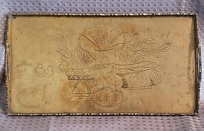 Antique Chinese Brass Export Small Tea Tray 1890-1920 Carved Signed CHINA