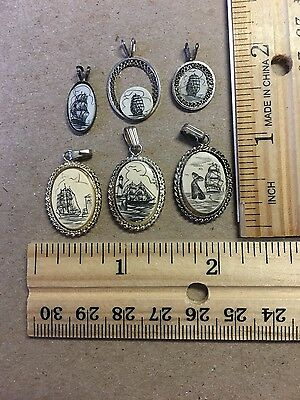 Lot of 6 Scrimshaw Schooner Lighthouse Dock Whale pendant / charms LOT 1