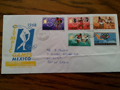 Trinidad & Tobago Mexico Olympic Games 1968 Stamps FDC 1st Day Cover