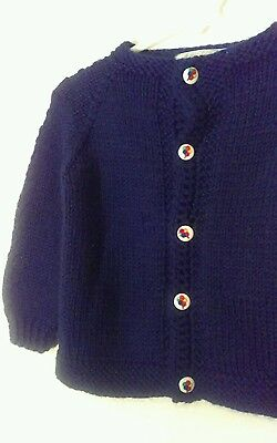Vtg Baby's Blue Cardigan Sweater w/ Balloon Buttons Size 12 mos