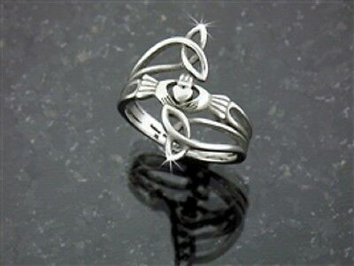 """Modern """"Take Me Home"""" Claddagh & Trinity Stainless Steel Ring"""