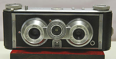Iloca Stereo 35mm Camera with leather case. Realist Format. Parts Repair Or A Ni