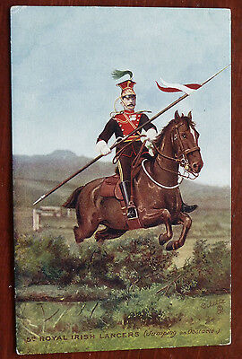 Vintage Military Postcard- 5th Royal Irish Lancers, Jumping and Obstacle