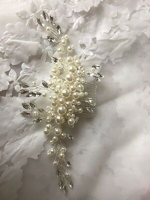Crystal Diamanté Ivory Pearl Cluster Wedding Bridal Hair Comb Accessories