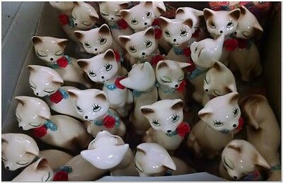 Vtg Kitsch Siamese Cuddling Kitty Cats Porcelain Figurines Japan Rare Rose Bowed
