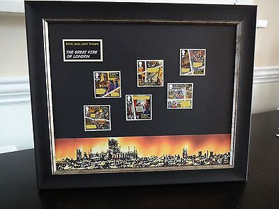 6 ROYAL MAIL STAMPS TO MARK 350th YEAR THE GREAT FIRE OF LONDON  PRESENTED FRAME