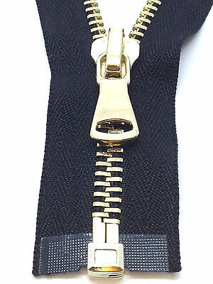 HEAVY DUTY No 8 POLISHED GOLD TEETH ZIP/METAL OPEN ENDED BLACK ZIPS