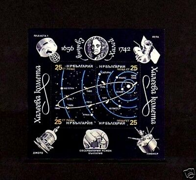 Bulgaria - 1990 - Space - Comet - Halley - Satellite - Cto - Nh S/sheet!