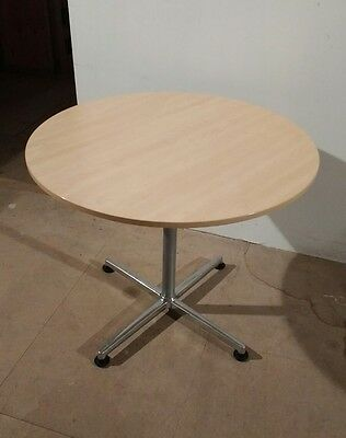 Round Wood Chrome Office Meeting Table 900mm Great Condition