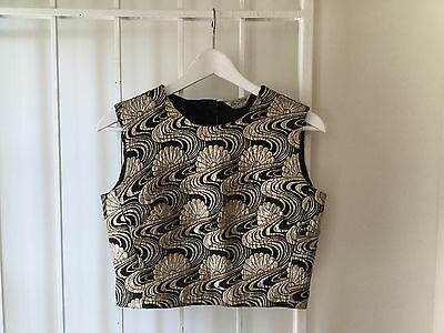 Vintage 60s black evening top gold silver sleeveless crop floral tank top womens