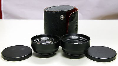 Vivitar Telephoto And Wide Angle Lens Set 52mm Mount With Case