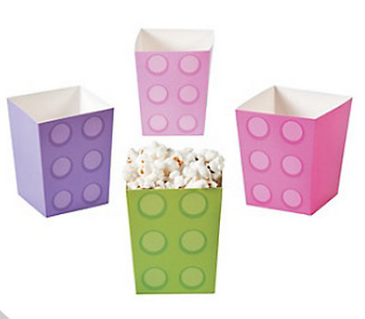 Pack of 12 - Girls Pastel Colours Brick Party Popcorn Boxes Lego Party Supplies
