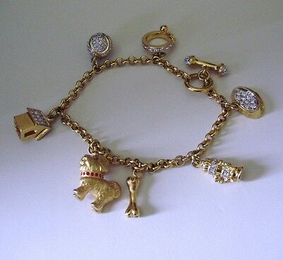 WOW!! SHINY GOLD TONED BEJEWELD BICHON DOG CHARM BRACELET-SIGNED d/m