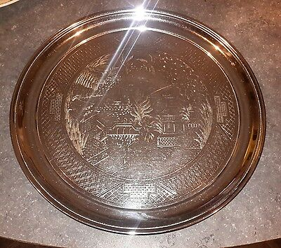Vintage Swan Brand Chrome Plated Willow Patter 14 Inch Drinks Tray