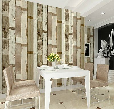 HaokHome 69023 Vinyl Vintage Faux Wood Panel Wallpaper Brown Multi for Home
