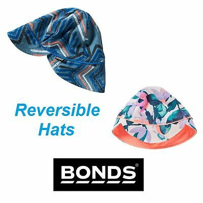 Bonds Baby Reversible Hat - Kids Boys Girls Stretchies Sun Blue Pink Flowers