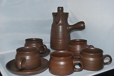 Denby Langley Mayflower Coffee Pot & 5 Coffee Cups & Saucers