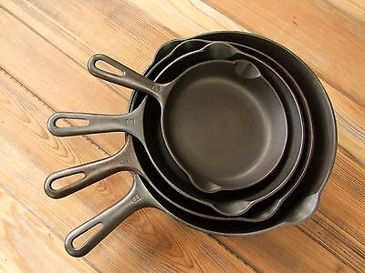 4 Griswold Small Logo Skillet Set Smooth Bottom 3 5 6 8 Restored Ready To Use