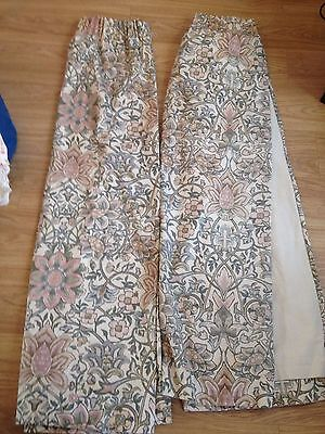 Pair of White patterned, lined, floral curtains by DORMA