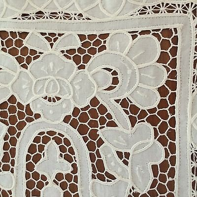 """vtg soft white placemats 3pc tape lace open work floral pattern 18-1/2""""x13-1/2"""""""