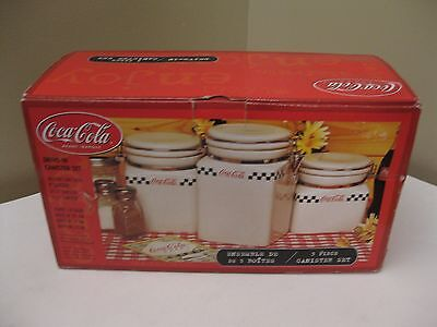 NIB Coca-Cola 3 Piece Ceramic Canister Set by Gibson