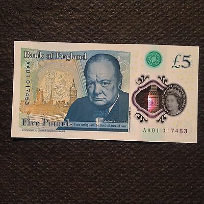 Great Britain 5 pound 2016, UNC, Polymer, AA01 017453 Very Low S/N