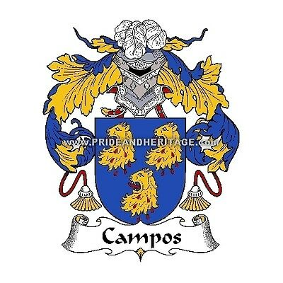 """Genealogy, Family Crest 6"""" Decal- Portuguese- Campos"""